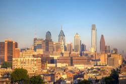 Aerial view of the Philadelphia skyline at sunset. Image source: Bob Snyder via Flickr