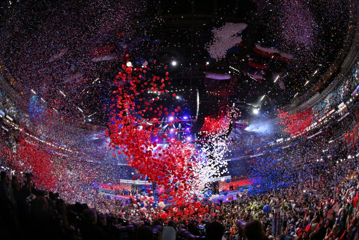 ABC NEWS - 7/28/16 - Coverage of the 2016 Democratic National Convention from the Wells Fargo Center in Philadelphia, PA which airs on all ABC News programs and platforms. (ABC/Ida Mae Astute) BALLOON DROP
