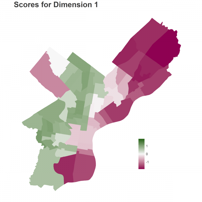 Map of Dimension 1 Scores
