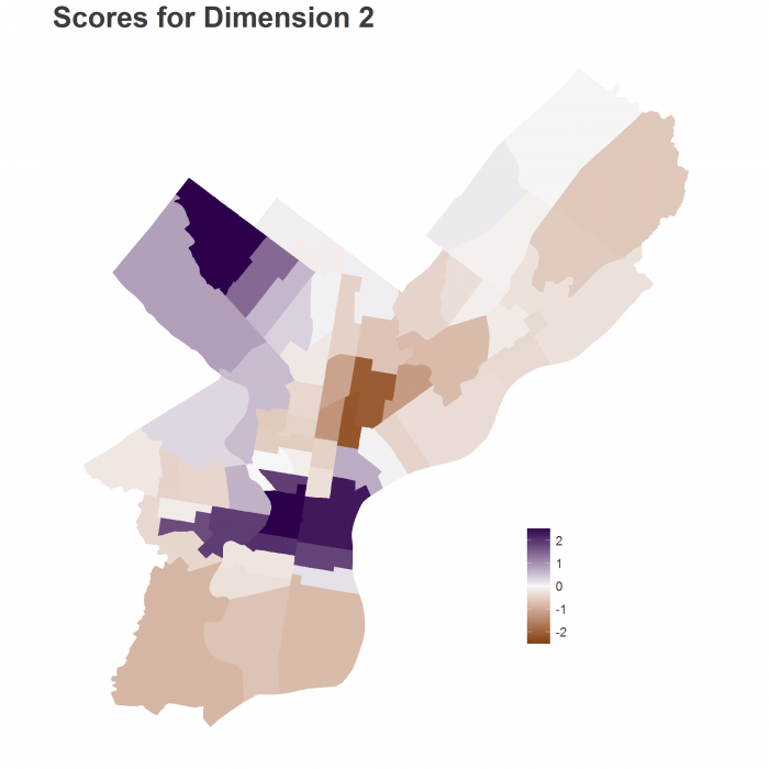 Map of Dimension 2 Scores