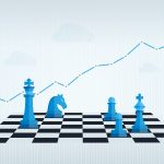 Business Management and Strategy with Chess Set and Financial Chart